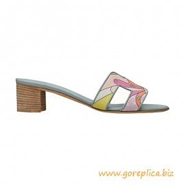 """Top Quality Oasis Sandals in Cotton Canvas with """"Faubourg rainbow"""" Print"""