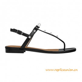 Top Quality Olivia Sandal with Palladium-plated Clous Pyramide Details