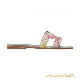 """Top Quality Oran Goatskin Sandal in Cotton Canvas with """"Faubourg rainbow"""" Print"""