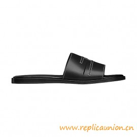 Top Quality Pacific Sandal in Calfskin Perforated H Stitching Detail