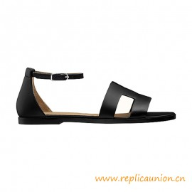 Top Quality Santorini Sandal in Calfskin with Raw-edged Detail and Thin Ankle Strap