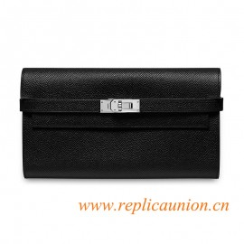Original Kelly Classic Long Wallet in Epsom Calfskin Palladium Plated Hardware