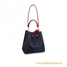 Top Quality NéoNoé MM Bucket Bag Navy Blue and Red