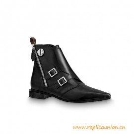 Top Quality Jumble Flat Ankle Boot Calf Leather Black
