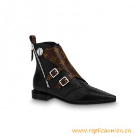 Top Quality Jumble Flat Ankle Boot Calf Leather and Patent Monogram Canvas