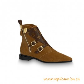 Top Quality Jumble Flat Ankle Boot Suede Calf Leather Cognac Brown