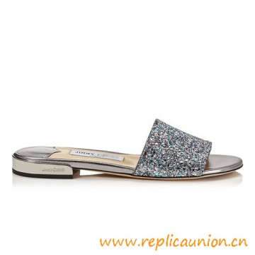 Top Quality Best Selling Joni Flat Glitter Fabric Slides