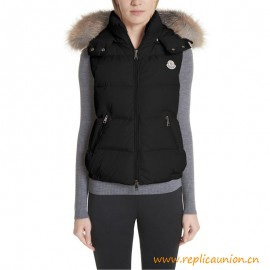 Top Quality Gallinule Down Vest with Detachable Genuine Fox Fur Trim Hood