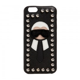 Women's Black Karlito Studded Saffiano Leather Iphone 6 7 Case