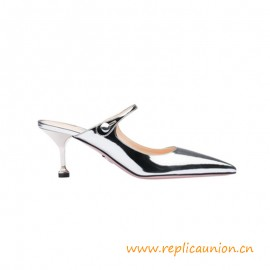 Top Quality Metallic Leather Mules 65 mm ABS Heel