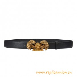 Top Quality Winged Medusa Supple Calf Leather Belt