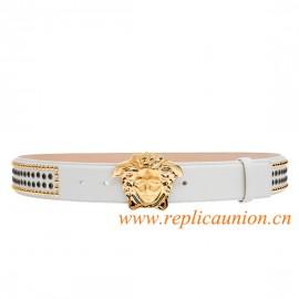 Original Studded Calf Leather Belt Embellished with Medusa Head Bukle